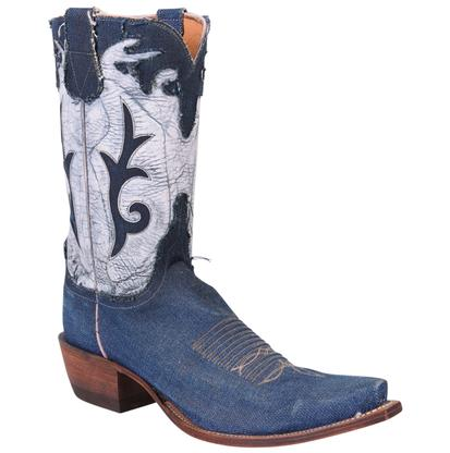 Lucchese Women's Stonewash Denim & Goat Leather Diva Cowgirl Boots