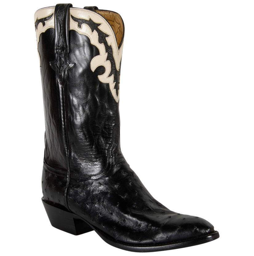 Lucchese Men's Black Pin Buffalo Gold Goat Lining Cowboy Boots