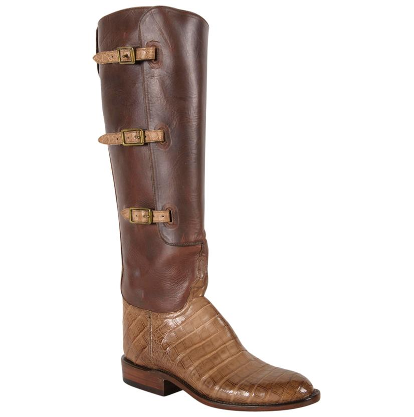 Lucchese Classics Women's Belted Light Tan Caiman Belly Cowboy Boots