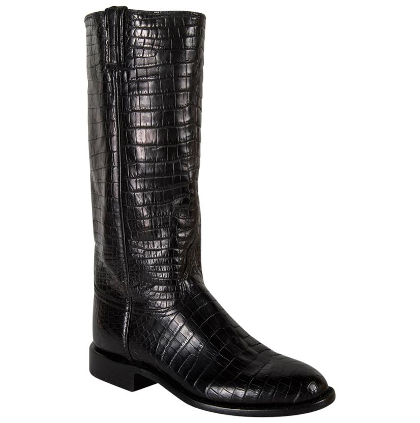 Lucchese Women's Black Croc Belly Cowgirl Boots