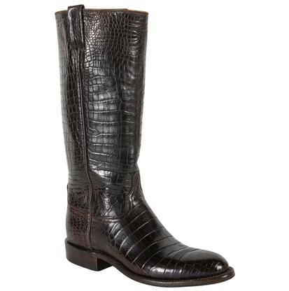 Lucchese Classics Women's Chocolate Nile Belly Crocodile Western Boots
