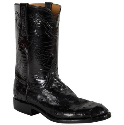 Lucchese Classics Mens Black Goat Ostrich Cowboy Boots