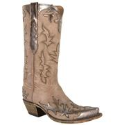 Lucchese Women's Golden Silver Mink Goat Cowgirl Boots