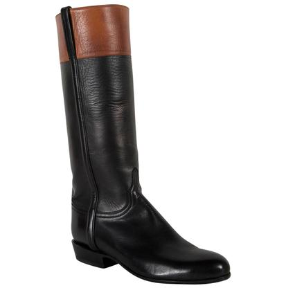 Lucchese Women's Black & Brown Make Up Baby Buffalo Riding Boots