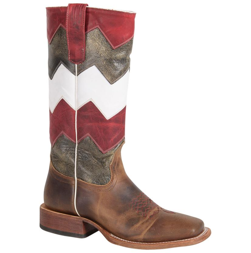 Macie Bean Kids ' Red, Black, And White Chevron Boots
