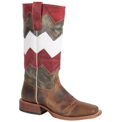 Macie Bean Kids' Red, Black, and White Chevron Boots