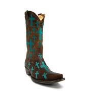 Old Gringo Women's Brass Leather Turquoise Cross Boots
