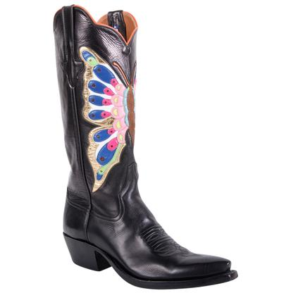 Rios of Mercedes Black Calf Butterfly Inlay Womens Boots