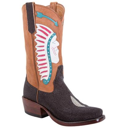 Rios of Mercedes Kemo Sabe Inlay Chocolate Stingray Ladies Boots