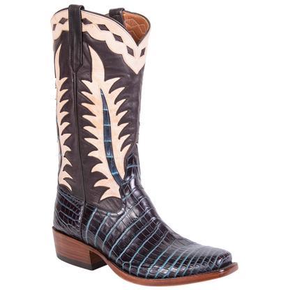 Rios of Mercedes Men's Black & Turquoise Amaze Crocodile Belly Boots