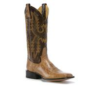 Antique Tan Bison Square Toe Cowboy Boot by Rod Patrick