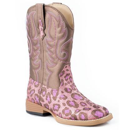 Roper Toddler Glitter Leopard Pink Square Toe Boots