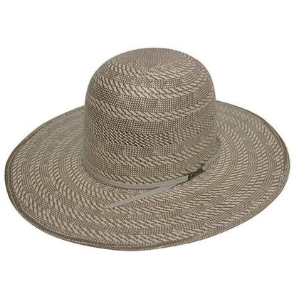 Tuff Cooper Open Crown Gray and Natural Straw Cowboy Hat