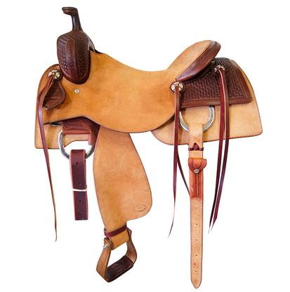 STT Ranch Cutter Saddle Rough Out and Basket Weave