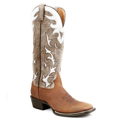 Stetson Men's Oiled Brown & Antique White Buckaroo Cowboy Boots