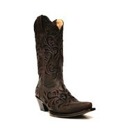 Stetson Women's Filigree Distressed Brown Leather Cowgirl Boots