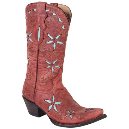 Stetson Women's Red Leather & Blue Floral Underlay Cowgirl Boots