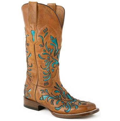 Stetson Talon Women's Blue Floral Western Boots