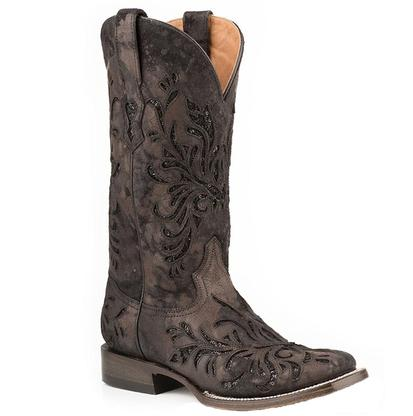 Stetson Women's Dark Brown and Black Sequin Inlay Boots