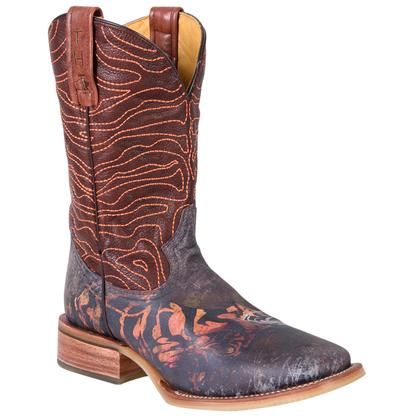Tin Haul Men's Brown & Orange Tiger Cowboy Boots