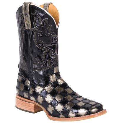 Tin Haul Men's Metallic King Checkerboard Cowboy Boots