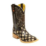 Tin Haul Men's Gun Metal Check Cowboy Boots