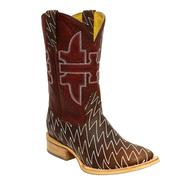 Tin Haul Men's Lightning Brown and Red Cowboy Boots