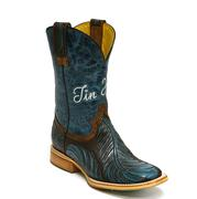 Tin Haul Teal and Brown Feathers Womens Boot