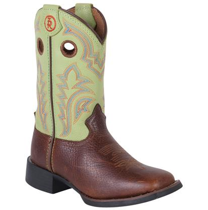 Tony Lama Kids' Lime Green & Beige Mustang Boots