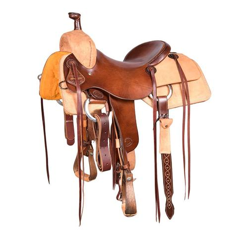STT Ranch Cutter Saddle - Half Chocolate Slickout Half Roughout