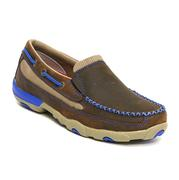 Twisted X Casual Shoe Women Driving Mocs Slip On Oiled Saddle Neon Blue