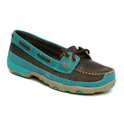 Twisted X Women's Brown Leather / Turquoise Mocs Casual