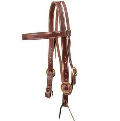 Browband Headstall Double Stitched Oiled Leather 1 inch