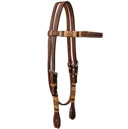 Browband Headstall with Braided Rawhide and Dark Oiled Leather
