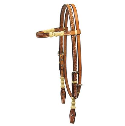 Basketweave Leather and Rawhide Browband in Light Oil