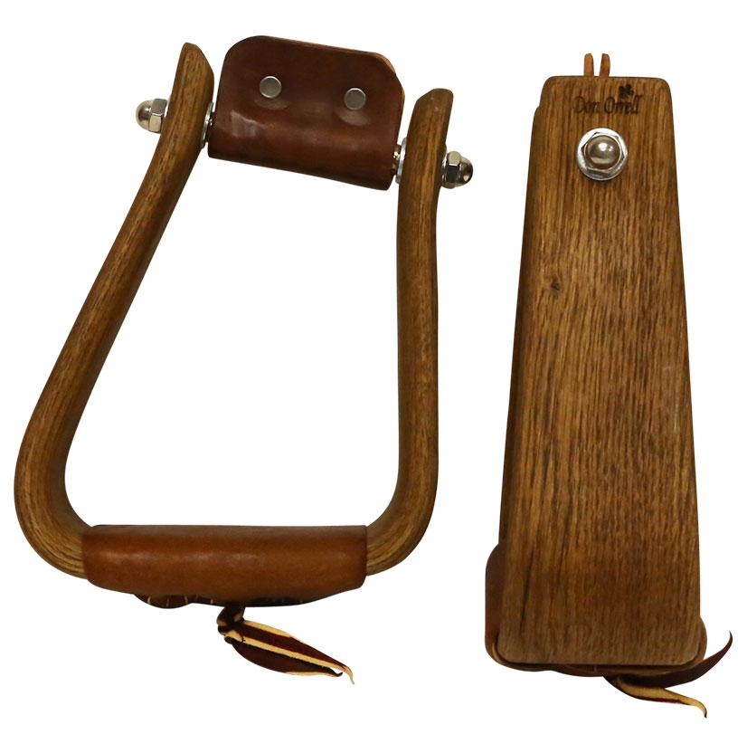 Don Orrell Stained Oak Rancher Angled Roper Stirrups
