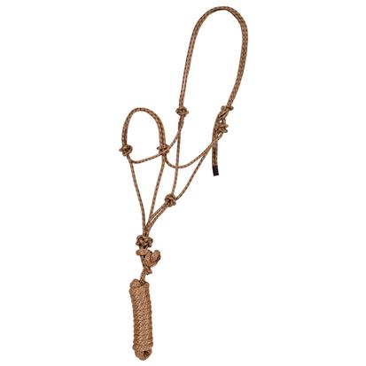 Mustang Economy Mountain Rope Halter w/Lead TAN/BROWN