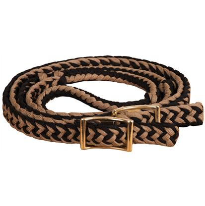 Mustang Braided Barrel Racing Rein BLACK/TAN