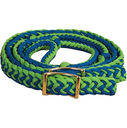 Mustang Braided Barrel Racing Rein BLUE/LIME