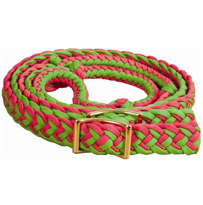 Mustang Braided Barrel Racing Rein H.PINK/LG