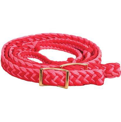 Mustang Braided Barrel Racing Rein H.PINK/RED