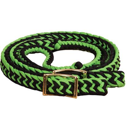 Mustang Braided Barrel Racing Rein LIME/BLACK