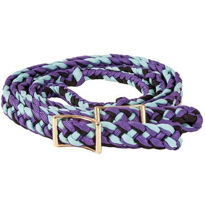 Mustang Braided Barrel Racing Rein PURP/BK/TURQ