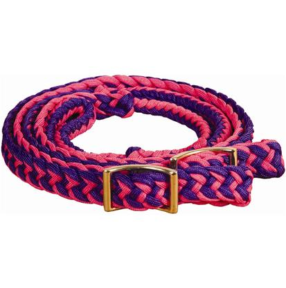 Mustang Braided Barrel Racing Rein PURP/H._PINK