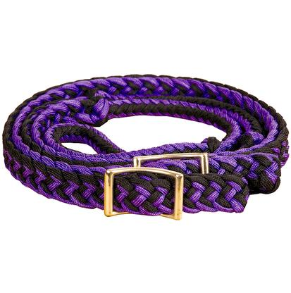Mustang Braided Barrel Racing Rein PURPLE/BLACK