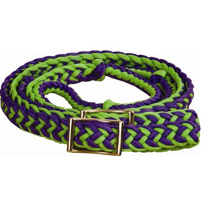Mustang Braided Barrel Racing Rein PURPLE/LIME