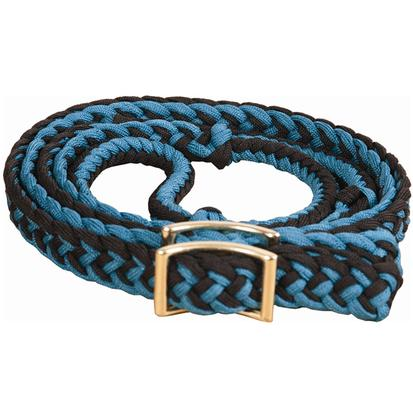 Mustang Braided Barrel Racing Rein TEAL/BLACK