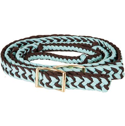 Mustang Braided Barrel Racing Rein TURQ/BROWN
