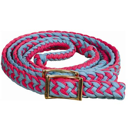 Mustang Braided Barrel Racing Rein TURQ/PINK