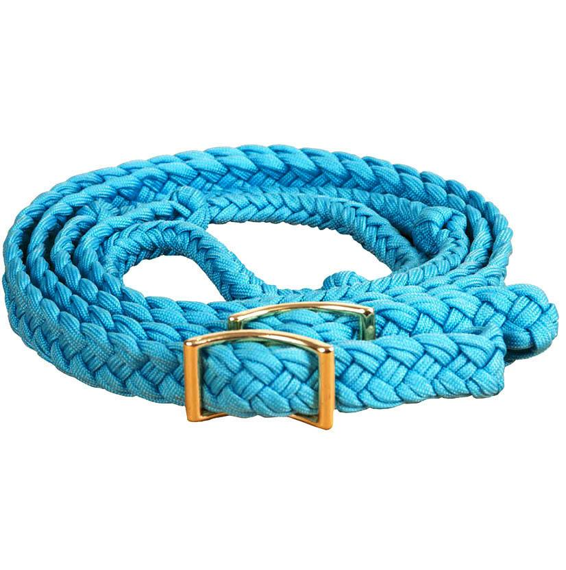 Mustang Braided Barrel Racing Rein TURQUOISE